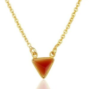 Red Onyx Gemstone 925 Silver Gold Plated Chain Pendant Necklace Jewelry