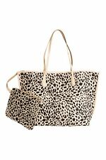 H&M LEOPARD PRINT SHOPPER BAG FOR BEAUTIFUL LADIES WITH A POUCH CANVAS PATTERNED