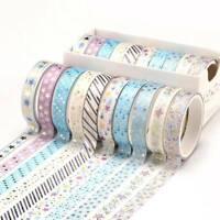 10x Bronzing Washi Tapes Masking Stickers DIY Scrapbooking Diary Planner Crafts
