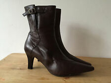 CLARKS LADIES BROWN LEATHER ANKLE BOOTS UK6
