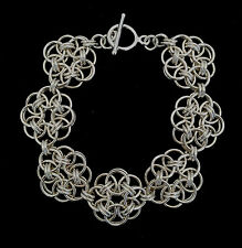 Chainmaille Sterling Silver Celtic Knot Bracelet. 7 1/2 inches.