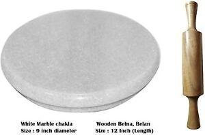 White Heavy Base Marble Chakla With Wooden Belan Marble Roti Maker Stone Chakla