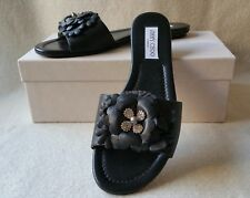 NIB Jimmy Choo Neave 40 10 9.5 Floral Crystal Jeweled Slide Sandals Black Shoe