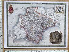 """Old Antique colour map Devon, England: c1830's: Moule: 9"""" x 12"""" Reprint"""