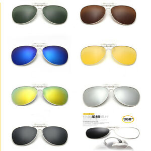 Polarized Sunglasses Clip On Flip-Style Wear Over Glasses  Driving Vision Goggle