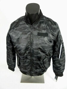 $70 Mens Bomber Flight Puffer Jacket Black Camo Southpole Size Large