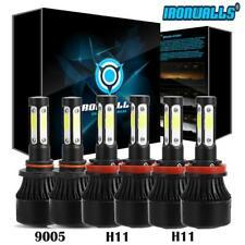 Combo 6pcs Ironwalls 1500W  4 Sides 9005 H11 LED Headlight+H11 H8 Fog Bulbs Kit