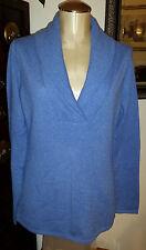 NWT KIRKLAND SIGNATURE 100% Cashmere Heather Blue Shawl Collar Sweater - sz L