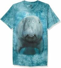 Big Face Manatee The Mountain 100% Cotton Adult Blue T-Shirt Sizes M-Xl Nwt