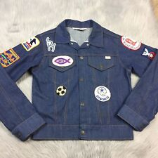 0fab2139bd22 Vintage 70s Jcpenney Boys Dark Denim Jean Snap Up Jacket With Patches