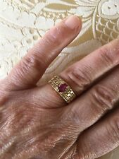Diamond Band Ring 18k Ruby and