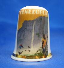Birchcroft China Thimble - Travel Poster Series - Venezuela - Free Dome Gift Box