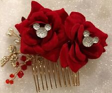 Disney Inspired Wedding Comb-Hidden Mickey Bridal Accessory-Red Rose-Clear Mouse