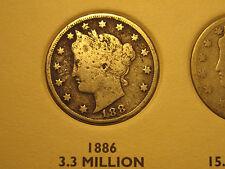 "1886 Liberty ""V"" Nickel                                          Scarce Key Date"