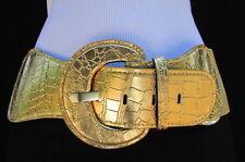 Women Elastic Hip Waist Belt Black White Gold Silver Beige Blue Brown S M L XL
