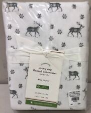 Nip Set of 2 Pottery Barn Snowy Stag Flannel Organic Pillowcases King Size