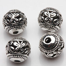 Lots 10Pcs Tibetan Silver Hollow Out Beads Butterfly Round Spacer Beads DIY