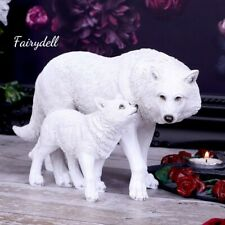 More details for winter wolves mother & cub white wolf figurine ~ stunning ornament ~ 25.5cm