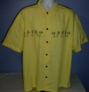 Island Republic Yellow Embroidered Short Sleeve Short XL