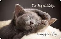 Frühstücksbrettchen Ein Tag mit Katze - Resopal Brettchen Grösse 14,2x23,16