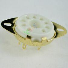 50pc Gilded 9pin Ceramic vacuum tube socket gold for El504 El519 audio amps part