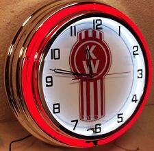 """18"""" KENWORTH KW Logo Sign Double Neon Clock"""