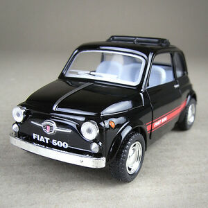 Fiat 500 F Berlina Die-cast Model Car 1:24 Scale Collectible Open Sunroof Black