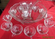 Vintage Anchor Hocking Clear Glass Punch Bowl, 12 Cups & Hooks - Grape Pattern