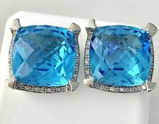 Olivia Blue Topaz & Diamond Cushion Earrings in St. Silver  Lot #19 Bel
