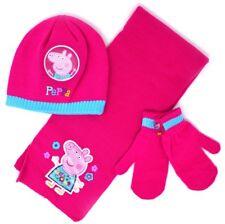 Girls Peppa Pig Warm Fleece Winter Hat Scarf Gloves Set Kids Children Beanie Hat