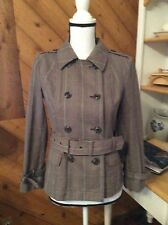 Style & Co Petite Brown Plaid 100% Cotton Belted Short Trench Coat Jacket S