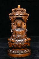 """6"""" Old China Boxwood Carving Shakyamuni Kwan-yin GuanYin Boddhisattva Set Statue"""