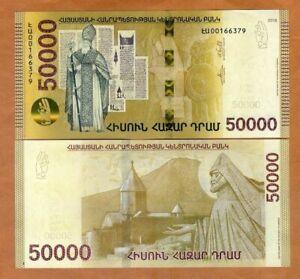 Armenia 50000 (50,000) Dram, 2018, P-66a, UNC Hybrid Polymer, New Design
