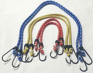3 x BUNGEE STRAPS CORDS SET WITH HOOKS CAR BIKE LUGGAGE ELASTICATED ROPE CORD