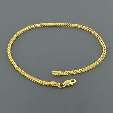 10K YELLOW GOLD 2.0MM WIDE SQUARE FRANCO 7.5 INCH BRACELET FREE SHIPPING
