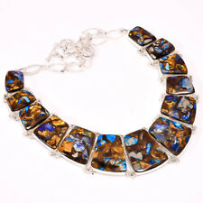 """Copper Blue Turquoise Gemstone Handmade Fashion Jewelry Necklace 16-18"""" N-11915"""