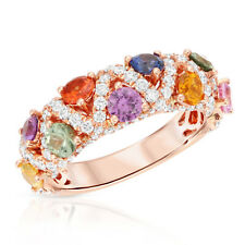 18K Rose Gold 1.88 Ct Multi Color Stones With 0.89 Diamonds Band Ring 6-7
