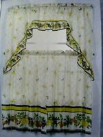 Fruits 2 Tiers 1 Swag Valance Pears Apples Grapes Berries Kitchen Curtains Decor