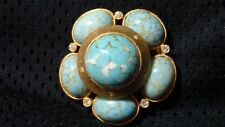 """Vintage Turquoise Pin Gemstone Jewelry-2"""" Round-Benedict, NY-Great Condition"""