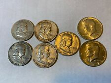 Lot of 7 Franklin & Kennedy Half Dollars 1948 to 64 Us Coins 90% Silver, 67 40%