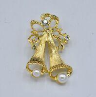 Holiday Pin Brooch Rhinestone Christmas Bell Gold Tone Imitation Pearl Bin8