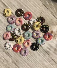 Mini Resin Donut Cabochons FlatBacks Love Doughnuts Slime Charms 32 Pieces
