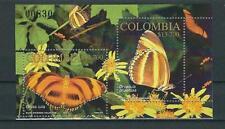 COLOMBIA  2002 BUTTERFLIES  SOUVENIR SHEET MNH
