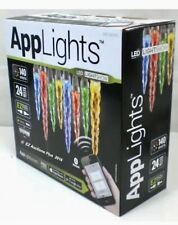 Gemmy AppLights LED Lightshow 24 Multicolor & White Icicle String Lights NIB