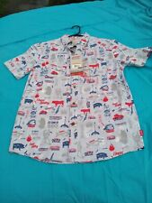 NEW Mens s COLEMAN BBQ Print SHIRT Steak Grill $60 Retail Hawaiian style cookout