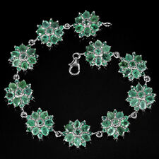 Sterling Silver 925 Genuine Natural Rich Green Emerald Floral Bracelet 7.25 Inch