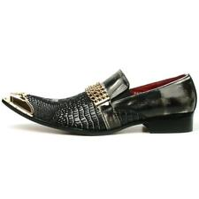 Men's Fiesso Black Grey Leather Snake Print Slip on Shoes Metal Tip  FI 7435