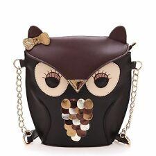 Retro Women Splicing Black Crossbody Owl Shoulder Bag Handbag Satchel TR9222
