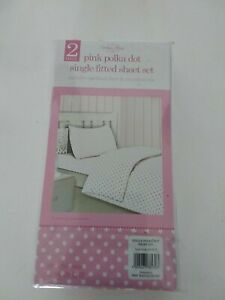 Vintage Home 2 piece pink polka dot single fitted sheet one pillowcase new