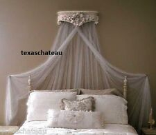 ORNATE ANTIQUE WHITE BED CROWN WALL CANOPY FRENCH REGENCY CHIC VINTAGE STYLE NEW